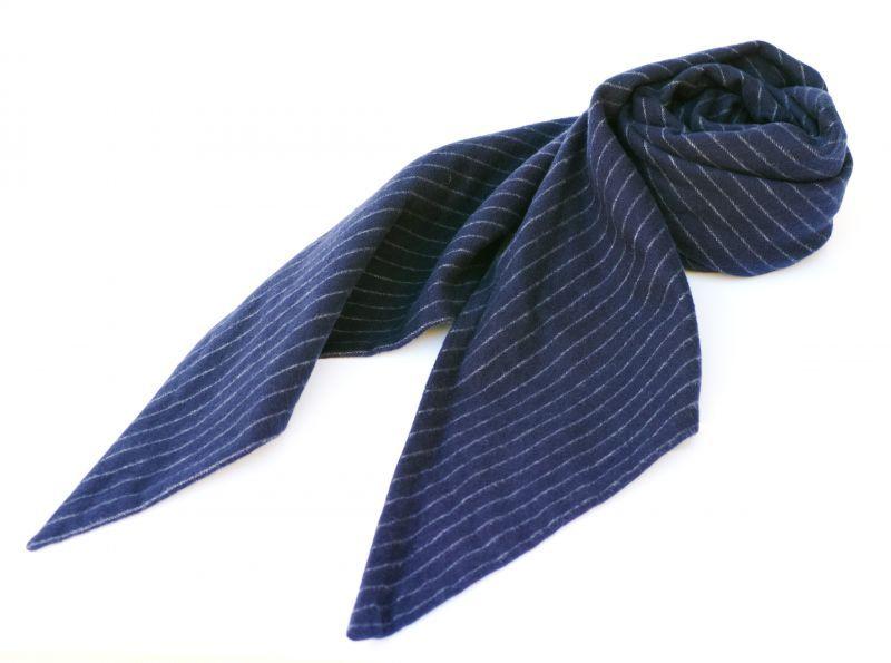 画像1: ts(s) Chalk Stripe Cotton Flannel Cloth Bias Cut Scarf NAVY (1)