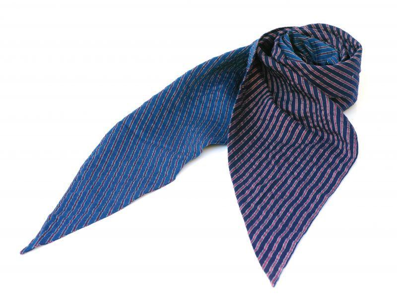 画像1: ts(s) Stripe Tencel*Cotton*Polyester Cloth Bias Cut Scarf NAVY/BLUE (1)