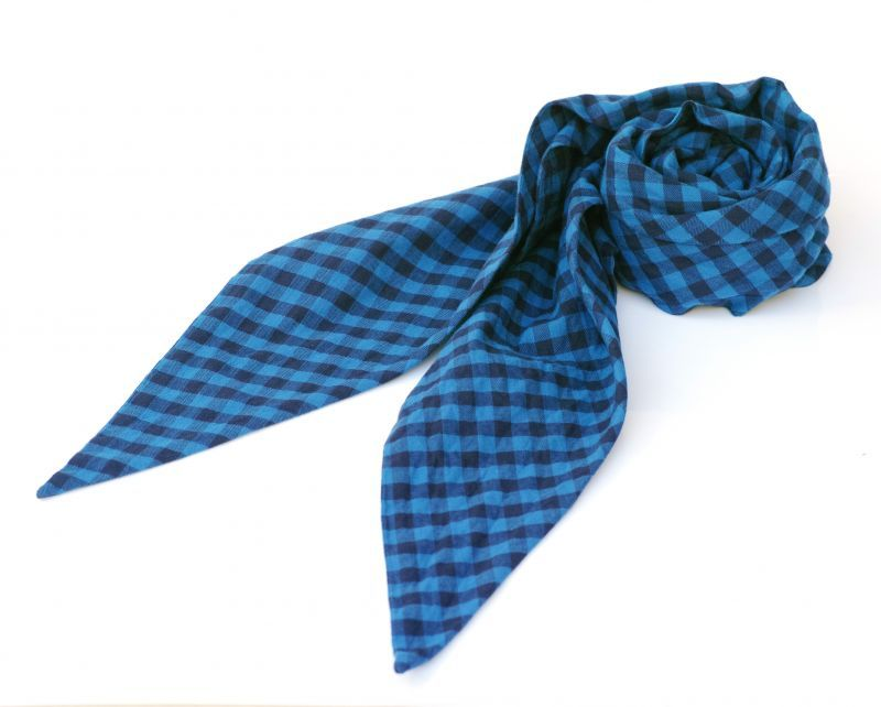画像1: ts(s) Double-sided Brushed Block Plaid Cotton Cloth Bias Cut Scarf BLUE (1)