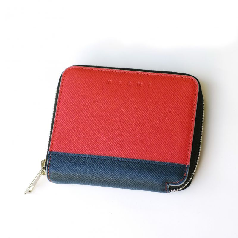 画像1: M A R N I ROUND ZIP SHORT WALLET RED (1)
