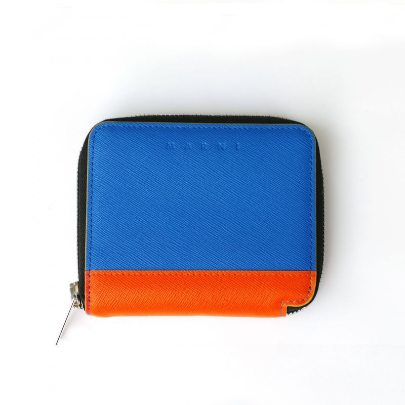 画像1: M A R N I ROUND ZIP SHORT WALLET BLUE (1)