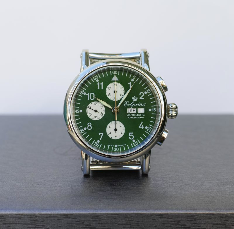 画像1: ERBPRINZ AOUTOMATIC CHRONOGRAPH WATCH OLIVE (1)