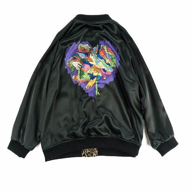 画像1: VARDE77 JUNKIE HEART SATIN JACKET (1)