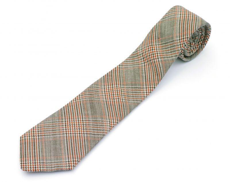 画像1: ts(s) Color Glen Plaid Cotton*Linen Cloth Neck Tie GREEN (1)