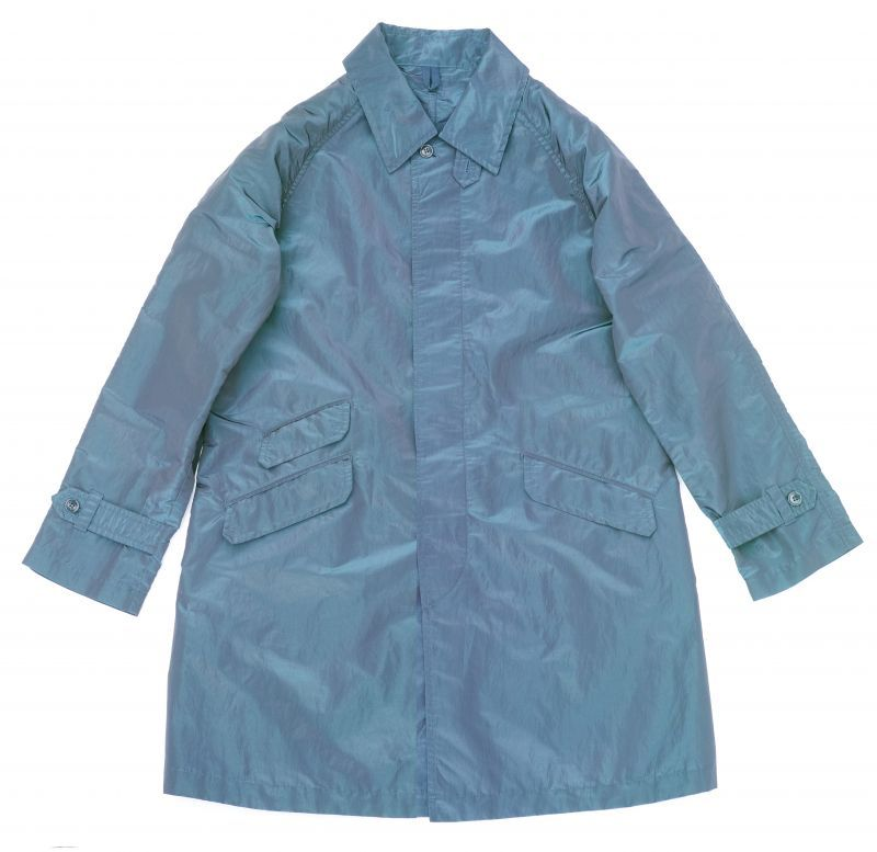 画像1: ts(s) Super Iridescent Nylon*Polyester Taffeta Cloth Fly Front Raglan Sleeve Coat NAVY (1)