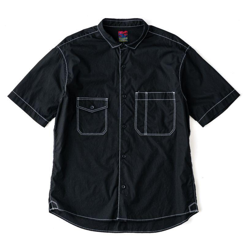 画像1: BRU NA BOINNE ブラックディファレントポケットシャツ (1)
