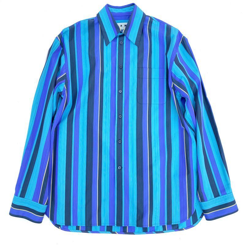 画像1: M A R N I  STRIPE BIG SHIRTS BLUE (1)