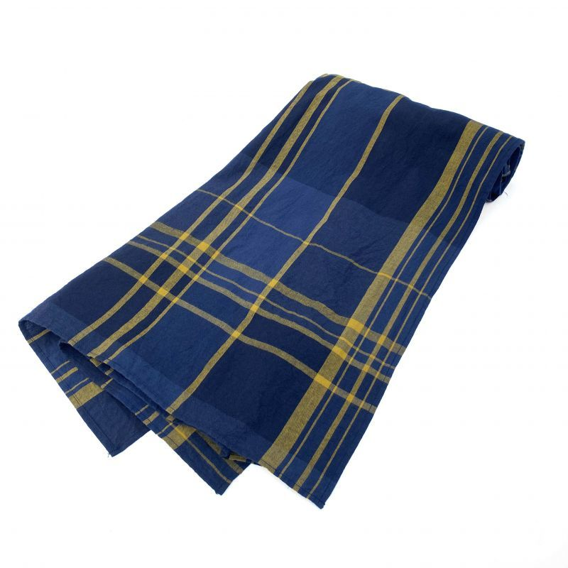 画像1: ts(s) Large Plaid Cotton*Wool Cloth Stole NAVY (1)