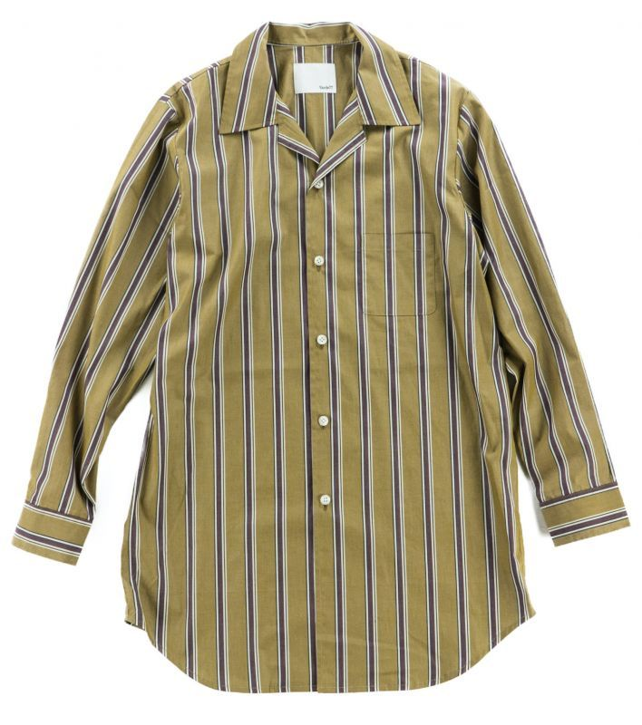 画像1: VARDE77 STRIPE LONG SHIRTS	 BROWN (1)
