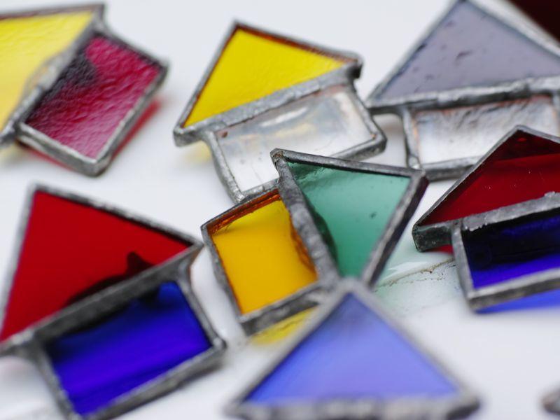 画像1: RockSteady hand made 「stained glass HOME BROOCH」 (1)