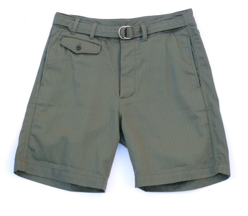 画像1: ts(s) Supima Cotton Herringbone Cloth / D-ring Belted Shorts OLIVE (1)