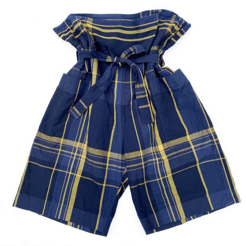 画像1: ts(s) Large Plaid Cotton*Wool Cloth / Thai Shorts NAVY (1)