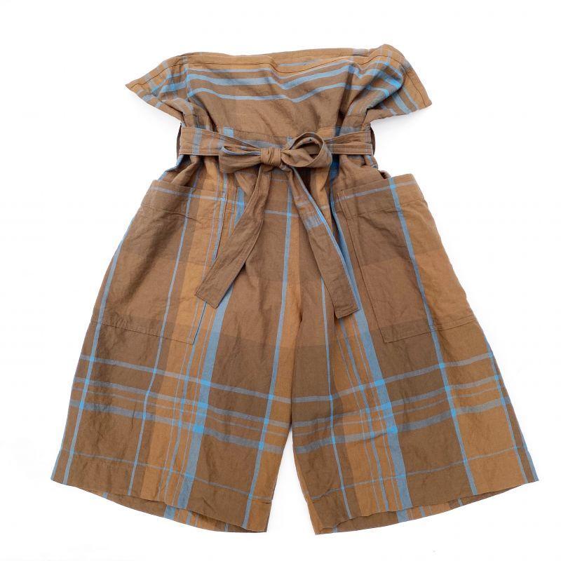 画像1: ts(s) Large Plaid Cotton*Wool Cloth / Thai Shorts BROWN (1)