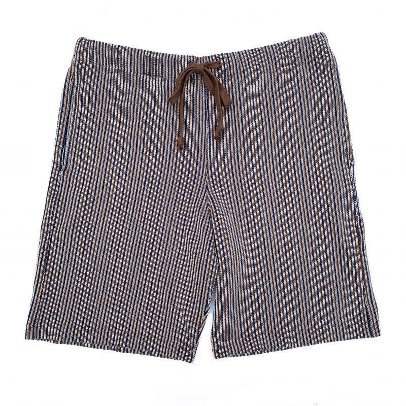 画像1: ts(s) Combination Stripe Cotton Jacquard Jersey / Sweat Shorts NAVY*BROWN (1)