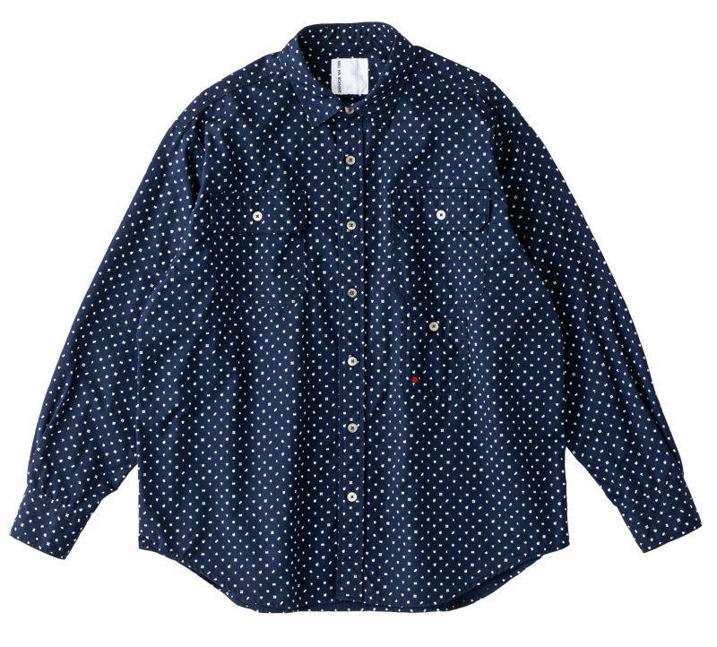 画像1: BRU NA BOINNE コモンパターンシャツ NAVY (1)