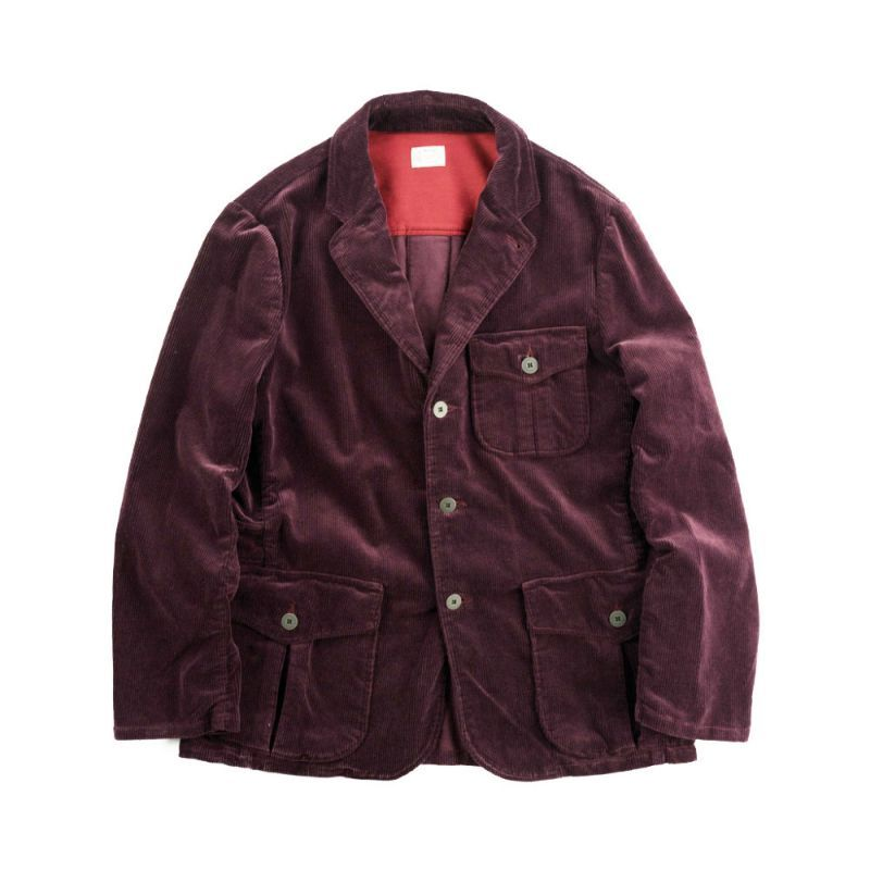 画像1: VARDE77 3 BUTTON  CORDUROY JACKET WINE RED (1)