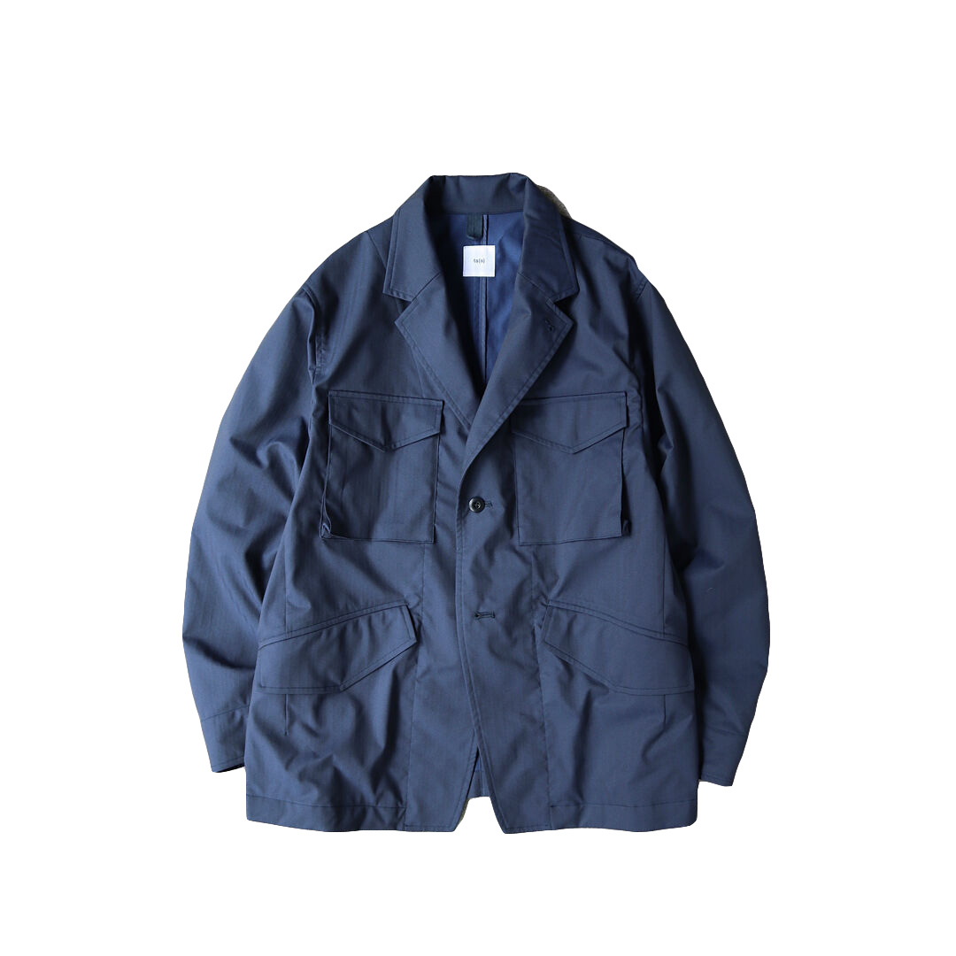 画像1: ts(s) Water Repellent Cotton Touch Polyester Stretch Herringbone Cloth / Tailored Military Jacket (1)