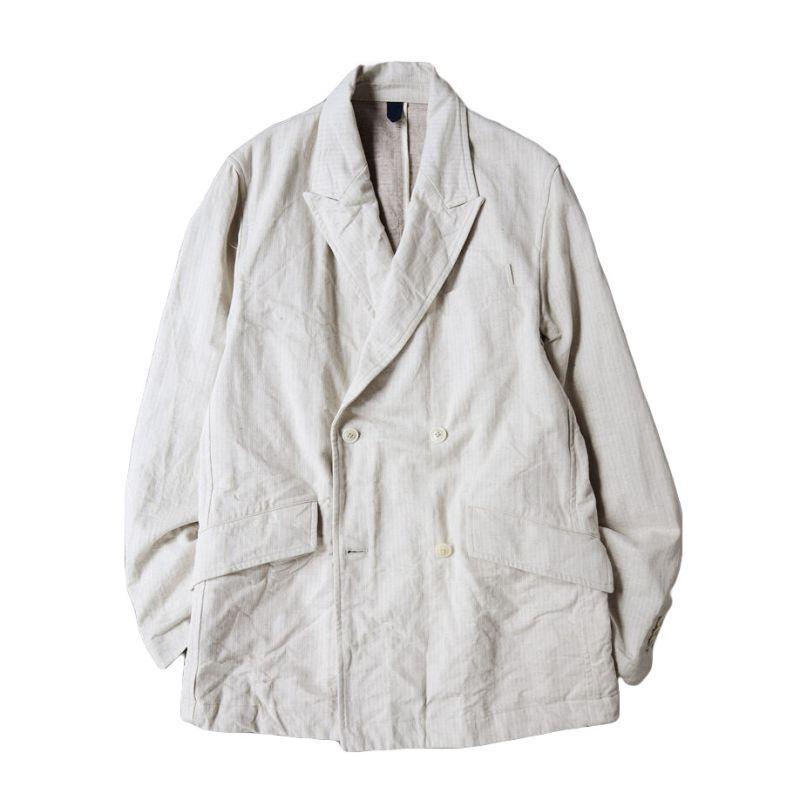 画像1: ts(s)  Cotton*Linen Stretch Herringbone Denim Cloth / 4 Button Double Breasted Jacket (1)