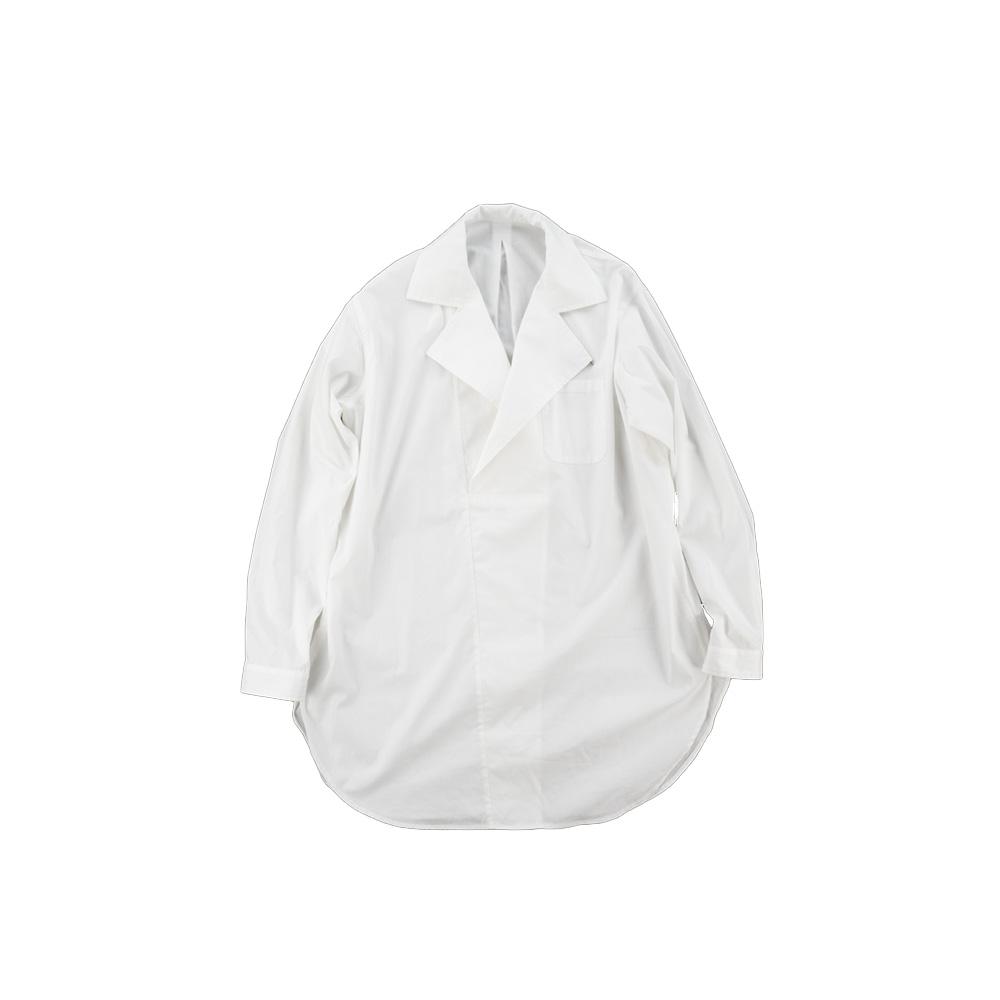 画像1: DOUBLE NECK LONG SHIRTS white (1)