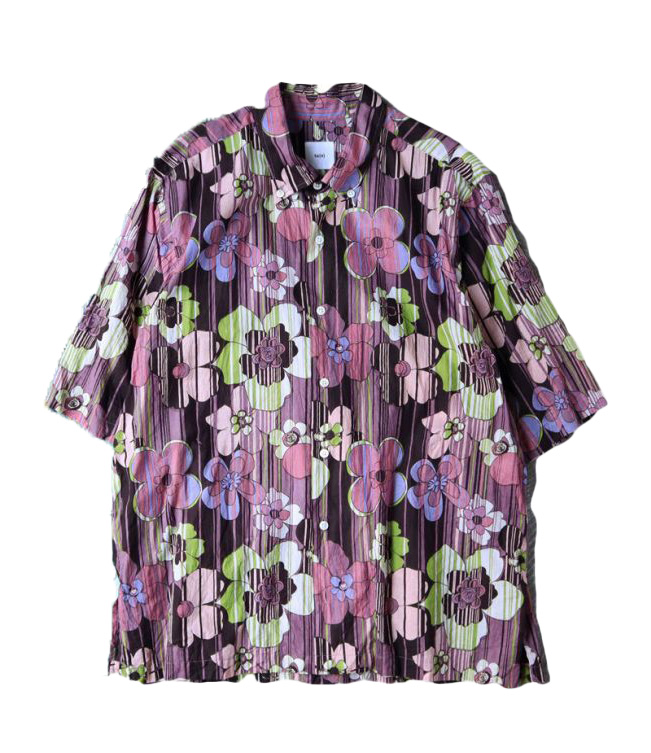 画像1: ts(s)  Indian Retro Flower Print Cotton Cloth / Half Sleeve Side Pocket B.D. Shirt (1)